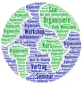 Word Cloud-Weltkugel für Veranstaltungsorganisation