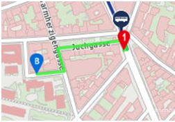 Google Karte mit dem Gehweg von der Haltestelle 74A zum Institut