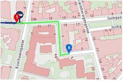 Google Karte mit Gehweg von der Haltestelle 77A zum Institut