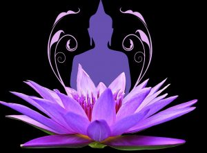 Lotusblüte mit Buddhafigur als Bild zu unserer Wesak Zeremonie